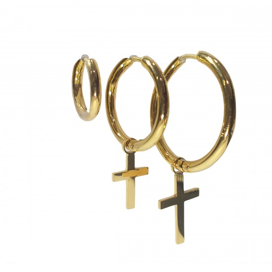 Ατσάλινα Σκουλαρίκια - Χρυσό
